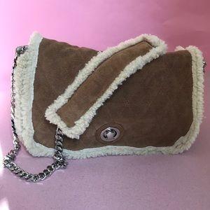 Tan/cream Zara cow leather shoulder bag